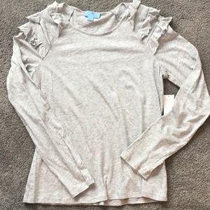 NWT CeCe Heather Grey Ruffle Long Sleeve Top